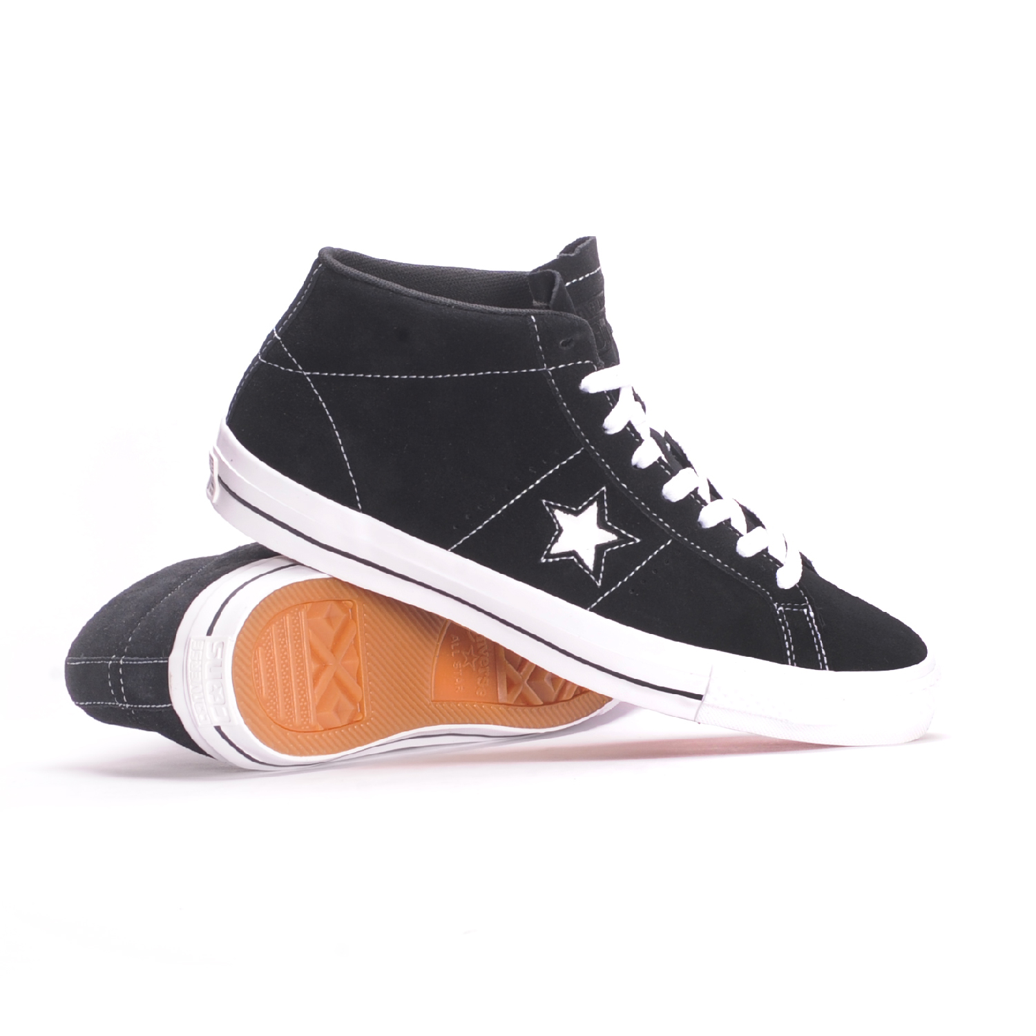 b14ebec84fc4e3 Converse One Star Pro Suede Mid (Black White Black) Men s ...