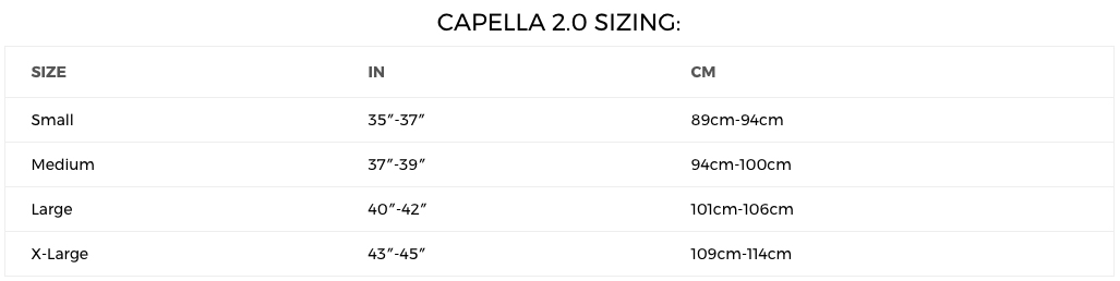 2018 Limelight Capella 2.0 Sizing